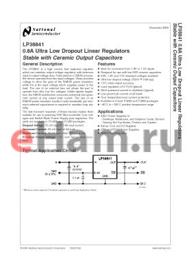 LP38841S-1.2 datasheet - 0.8A Ultra Low Dropout Linear Regulators Stable with Ceramic Output Capacitors