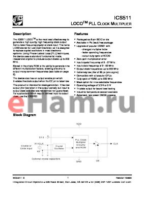 ICS511M datasheet - LOCO PLL Clock Multiplier