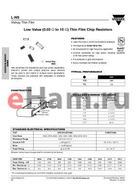 L-2010O0R10GBBS datasheet - Low Value (0.03 Y to 10 Y) Thin Film Chip Resistors