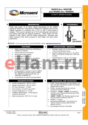 JAN1N2979 datasheet - 10 WATT ZENER DIODES