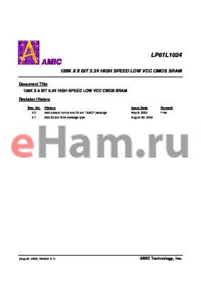 LP61L1024U-12 datasheet - 128K X 8 BIT 3.3V HIGH SPEED LOW VCC CMOS SRAM