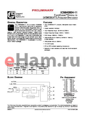 ICS840004-11 datasheet - FEMTOCLOCKS CRYSTAL-TO LVCMOS/LVTTL FREQUENCY SYNTHESIZER