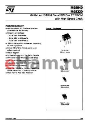 M95320-RDL3G datasheet - 64Kbit and 32Kbit Serial SPI Bus EEPROM With High Speed Clock