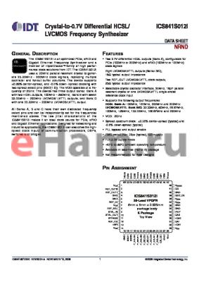 ICS841S012I datasheet - Crystal-to-0.7V Differential HCSL/LVCMOS Frequency Synthesizer