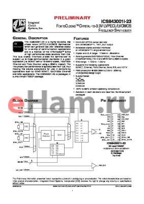 ICS843001AGI-23T datasheet - FEMTOCLOCKS CRYSTAL-TO-3.3V LVPECL/LVCMOS FREQUENCY SYNTHESIZER