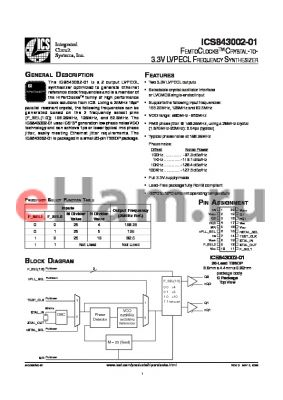 ICS843002-01 datasheet - FEMTOCLOCKS CRYSTAL-TO-3.3V LVPECL FREQUENCY SYNTHESIZER