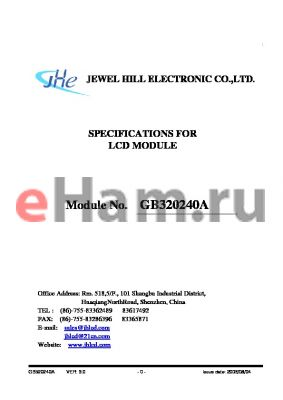 GB320240ANYAAMUA-V01 datasheet - SPECIFICATIONS FOR LCD MODULE