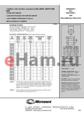 JAN1N4103DUR-1 datasheet - SILICON 400mA LOW NOISE ZENER DIODES