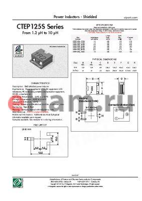 CTEP125SF-4R0M datasheet - Power Inductors - Shielded