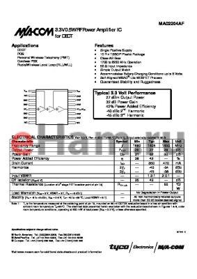 MA02204AF datasheet - 3.3V 0.5W RF Power Amplifier IC for DECT