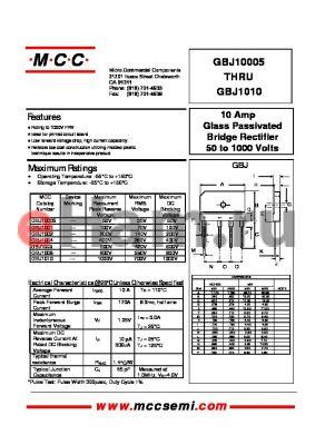 GBJ1004 datasheet - 10 Amp Glass Passivated Bridge Rectifier 50 to 1000 Volts