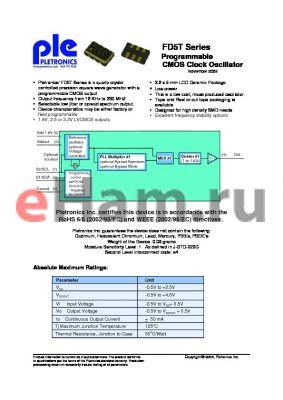 FD5115TL-25.0M-PLE-T250 datasheet - Programmable CMOS Clock Oscillator