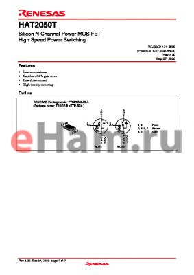HAT2050T datasheet - Silicon N Channel Power MOS FET High Speed Power Switching