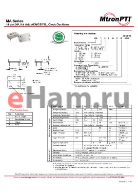 MA16FCD-R datasheet - 14 pin DIP, 5.0 Volt, ACMOS/TTL, Clock Oscillator