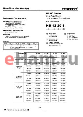 HB02120 datasheet - Breake Away Header .025(0.64mm) Square Posts