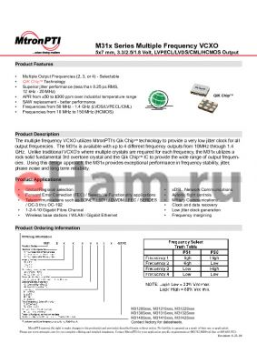 M31302AGC2N datasheet - Multiple Frequency VCXO 5x7 mm, 3.3/2.5/1.8 Volt, LVPECL/LVDS/CML/HCMOS Output