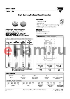 IDCP-3020ER1500M datasheet - High Current, Surface Mount Inductor