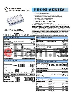 FDC05-24S15 datasheet - 5 WATTS OUTPUT POWER