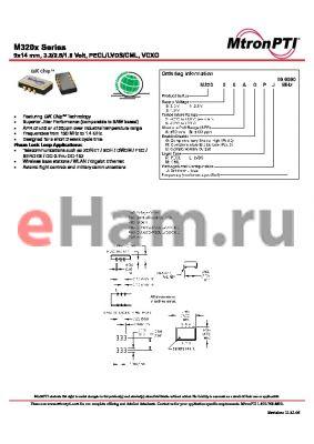 M32012AGLJ datasheet - 9x14 mm, 3.3/2.5/1.8 Volt, PECL/LVDS/CML, VCXO