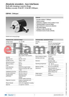 GBP5W.B10A316 datasheet - Absolute encoders - bus interfaces