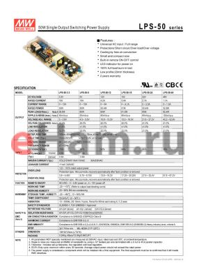 LPS-100-12 datasheet - 100W Single Output without PFC Function