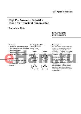 HBAT-5400-TR1 datasheet - High Performance Schottky Diode for Transient Suppression