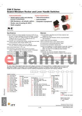 E101J1AV2K32 datasheet - Sealed Miniature Rocker and Lever Handle Switches