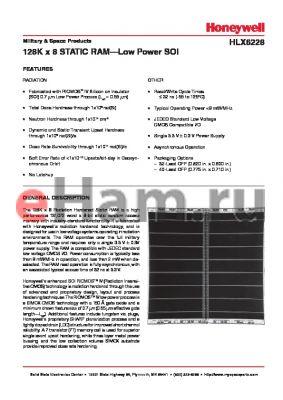 HLX6228ASF datasheet - 128K x 8 STATIC RAM-Low Power SOI