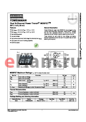 FDMB3900AN datasheet - nullDual N-Channel Power Trench^ MOSFETTM 25 V, 7.0 A, 23 mY