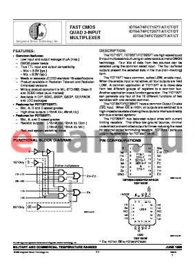 IDT54FCT157TDB datasheet - FAST CMOS QUAD 2-INPUT MULTIPLEXER