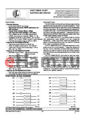 IDT54FCT162244ETPVB datasheet - FAST CMOS 16-BIT BUFFER/LINE DRIVER