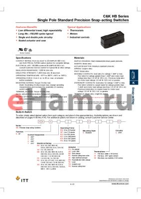 HBS2KAB6SP011C datasheet - Single Pole Standard Precision Snap-acting Switches