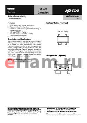 MA4E2072L-1068T datasheet - Surface Mount Schottky Crossover Quads
