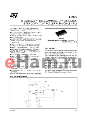 L6996D datasheet - DINAMICALLY PROGRAMMABLE SYNCHRONOUS STEP DOWN CONTROLLER FOR MOBILE CPUs