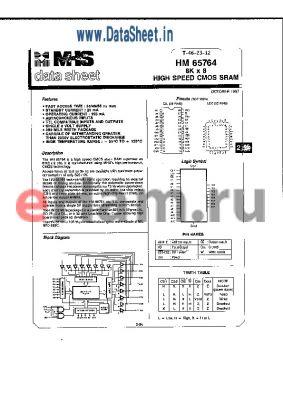 HM4-65764N-8 datasheet - HIGH SPEED CMOS SRAM