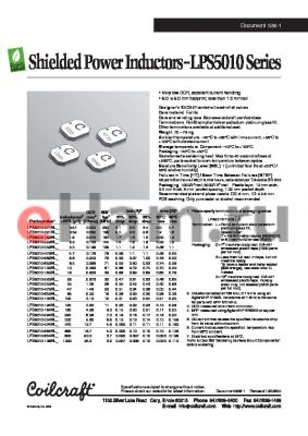 LPS5010-154ML datasheet - Shielded Power Inductors