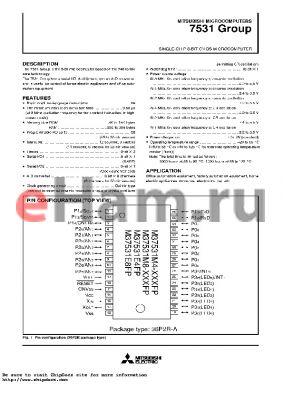 M37531E4GP datasheet - SINGLE-CHIP 8-BIT CMOS MICROCOMPUTER