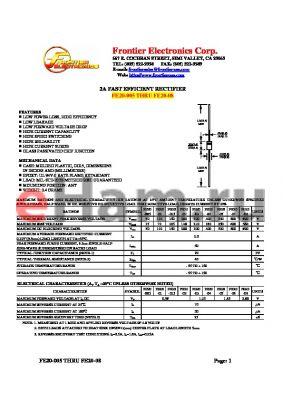 FE20-08 datasheet - 2A FAST EFFICIENT RECTIFIER