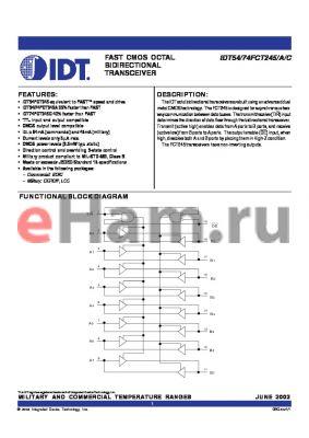 IDT54FCT245AD datasheet - FAST CMOS OCTAL BIDIRECTIONAL TRANSCEIVERS