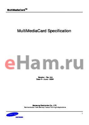 MC1GU016NMFB-0QC00 datasheet - MultiMediaCard Specification
