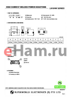 L810HW-R82MF-23 datasheet - HIGH CURRENT MOLDED POWER INDUCTORS