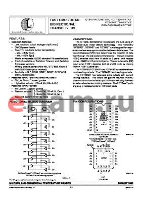 IDT54FCT645T datasheet - FAST CMOS OCTAL BIDIRECTIONAL TRANSCEIVERS