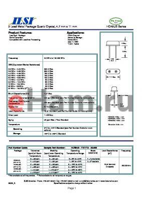 HC49US3-JH1F18-20.000 datasheet - 2 Lead Metal Package Quartz Crystal, 4.7 mm x 11 mm