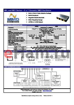 MIV3025T datasheet - 5 x 7 Ceramic SMD Oscillator