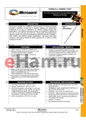 JANS1N4578AURTR datasheet - 6.4 Volt Temperature Compensated Zener Reference Diodes