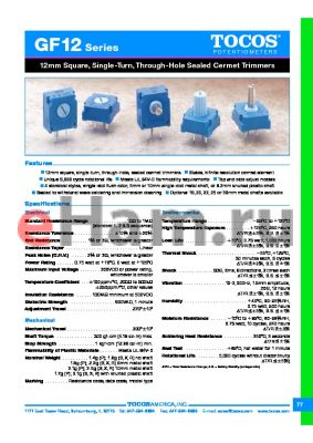 GF12R5SKB102K datasheet - 12mm Square, Single-Turn, Through-Hole Sealed Cermet Trimmers