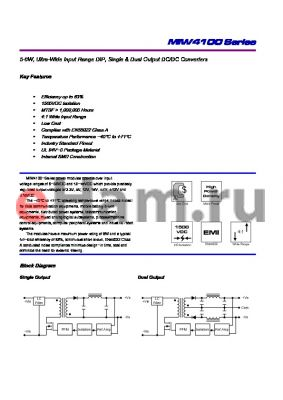 MIW4131 datasheet - 5-6W, Ultra-Wide Input Range DIP, Single & Dual Output DC/DC Converters