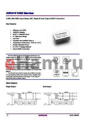 MIW4133 datasheet - 5-6W, Ultra-Wide Input Range DIP, Single & Dual Output DC/DC Converters
