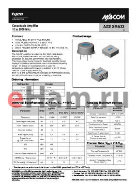 MAAM-008718-00CA33 datasheet - Cascadable Amplifier 10 to 2000 MHz