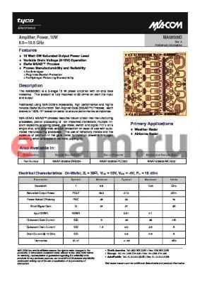 MAAP-008509-SMB004 datasheet - Amplifier, Power, 10W 8.5-10.5 GHz